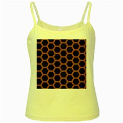 HEXAGON2 BLACK MARBLE & RUSTED METAL (R) Yellow Spaghetti Tank
