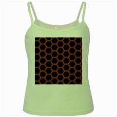 HEXAGON2 BLACK MARBLE & RUSTED METAL (R) Green Spaghetti Tank