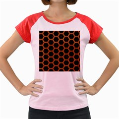 HEXAGON2 BLACK MARBLE & RUSTED METAL (R) Women s Cap Sleeve T-Shirt