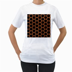 HEXAGON2 BLACK MARBLE & RUSTED METAL (R) Women s T-Shirt (White) (Two Sided)