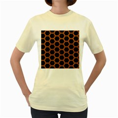 HEXAGON2 BLACK MARBLE & RUSTED METAL (R) Women s Yellow T-Shirt