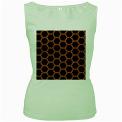 HEXAGON2 BLACK MARBLE & RUSTED METAL (R) Women s Green Tank Top
