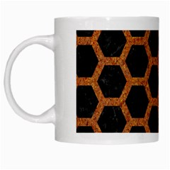 HEXAGON2 BLACK MARBLE & RUSTED METAL (R) White Mugs