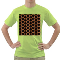 HEXAGON2 BLACK MARBLE & RUSTED METAL (R) Green T-Shirt