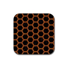 HEXAGON2 BLACK MARBLE & RUSTED METAL (R) Rubber Coaster (Square)