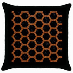 HEXAGON2 BLACK MARBLE & RUSTED METAL (R) Throw Pillow Case (Black)