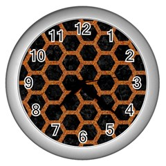 HEXAGON2 BLACK MARBLE & RUSTED METAL (R) Wall Clocks (Silver)