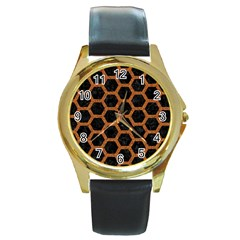 HEXAGON2 BLACK MARBLE & RUSTED METAL (R) Round Gold Metal Watch