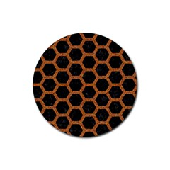 HEXAGON2 BLACK MARBLE & RUSTED METAL (R) Rubber Coaster (Round)