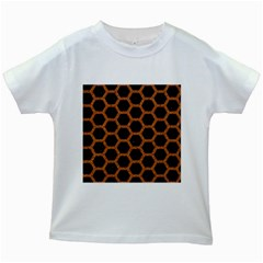 HEXAGON2 BLACK MARBLE & RUSTED METAL (R) Kids White T-Shirts