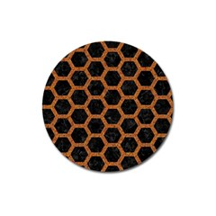 HEXAGON2 BLACK MARBLE & RUSTED METAL (R) Magnet 3  (Round)