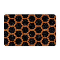 HEXAGON2 BLACK MARBLE & RUSTED METAL (R) Magnet (Rectangular)