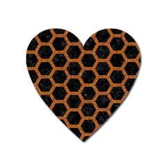 HEXAGON2 BLACK MARBLE & RUSTED METAL (R) Heart Magnet