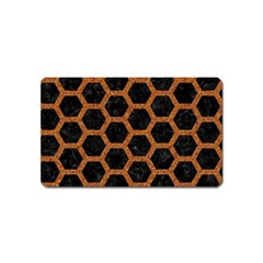 HEXAGON2 BLACK MARBLE & RUSTED METAL (R) Magnet (Name Card)