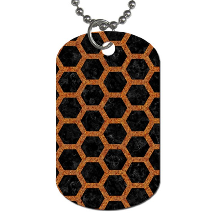HEXAGON2 BLACK MARBLE & RUSTED METAL (R) Dog Tag (One Side)