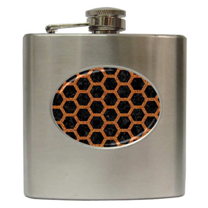 HEXAGON2 BLACK MARBLE & RUSTED METAL (R) Hip Flask (6 oz)