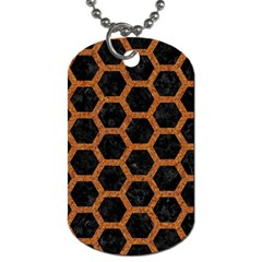 HEXAGON2 BLACK MARBLE & RUSTED METAL (R) Dog Tag (Two Sides)