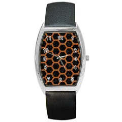 HEXAGON2 BLACK MARBLE & RUSTED METAL (R) Barrel Style Metal Watch
