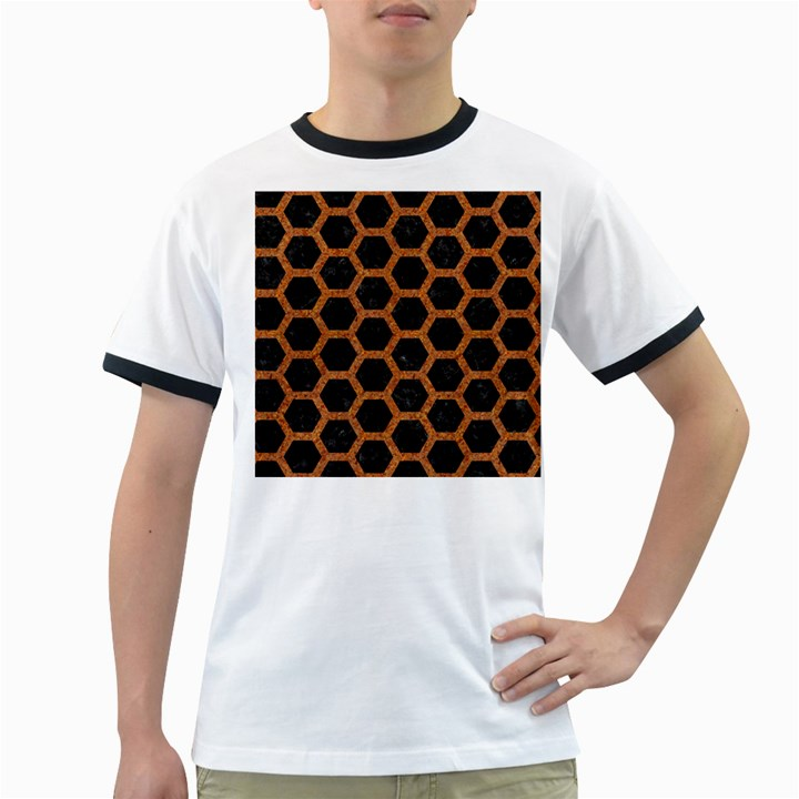 HEXAGON2 BLACK MARBLE & RUSTED METAL (R) Ringer T-Shirts