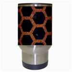 HEXAGON2 BLACK MARBLE & RUSTED METAL (R) Travel Mugs (White) Center