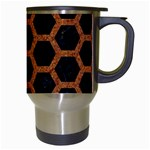 HEXAGON2 BLACK MARBLE & RUSTED METAL (R) Travel Mugs (White) Right