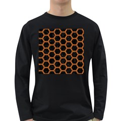 HEXAGON2 BLACK MARBLE & RUSTED METAL (R) Long Sleeve Dark T-Shirts