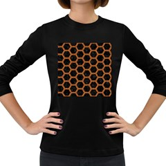 HEXAGON2 BLACK MARBLE & RUSTED METAL (R) Women s Long Sleeve Dark T-Shirts