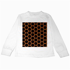 HEXAGON2 BLACK MARBLE & RUSTED METAL (R) Kids Long Sleeve T-Shirts