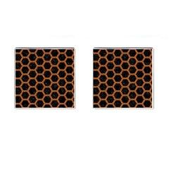 HEXAGON2 BLACK MARBLE & RUSTED METAL (R) Cufflinks (Square)