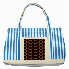 HEXAGON2 BLACK MARBLE & RUSTED METAL (R) Striped Blue Tote Bag