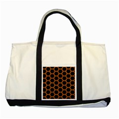 HEXAGON2 BLACK MARBLE & RUSTED METAL (R) Two Tone Tote Bag