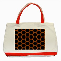 HEXAGON2 BLACK MARBLE & RUSTED METAL (R) Classic Tote Bag (Red)