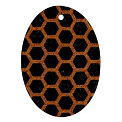 HEXAGON2 BLACK MARBLE & RUSTED METAL (R) Oval Ornament (Two Sides)