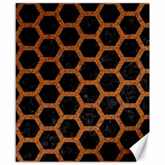 HEXAGON2 BLACK MARBLE & RUSTED METAL (R) Canvas 8  x 10