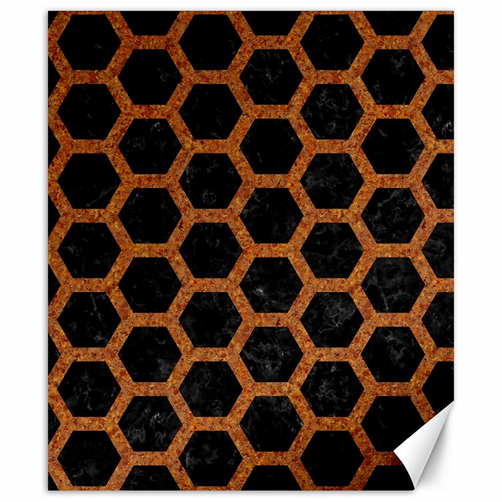HEXAGON2 BLACK MARBLE & RUSTED METAL (R) Canvas 20  x 24