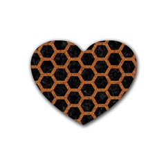 Hexagon2 Black Marble & Rusted Metal (r) Rubber Coaster (heart)  by trendistuff