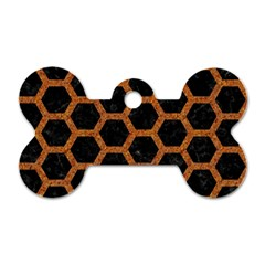 HEXAGON2 BLACK MARBLE & RUSTED METAL (R) Dog Tag Bone (Two Sides)