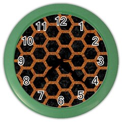 HEXAGON2 BLACK MARBLE & RUSTED METAL (R) Color Wall Clocks