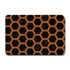 HEXAGON2 BLACK MARBLE & RUSTED METAL (R) Small Doormat