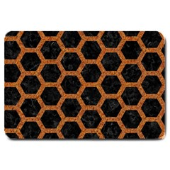 HEXAGON2 BLACK MARBLE & RUSTED METAL (R) Large Doormat