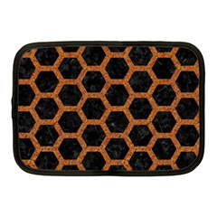HEXAGON2 BLACK MARBLE & RUSTED METAL (R) Netbook Case (Medium)