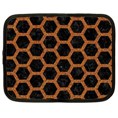 HEXAGON2 BLACK MARBLE & RUSTED METAL (R) Netbook Case (Large)