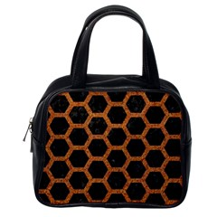 Hexagon2 Black Marble & Rusted Metal (r) Classic Handbags (one Side) by trendistuff