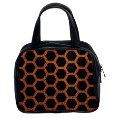 HEXAGON2 BLACK MARBLE & RUSTED METAL (R) Classic Handbags (2 Sides)