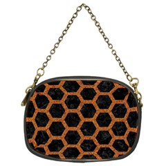 HEXAGON2 BLACK MARBLE & RUSTED METAL (R) Chain Purses (Two Sides)