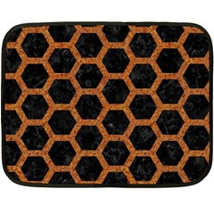 HEXAGON2 BLACK MARBLE & RUSTED METAL (R) Double Sided Fleece Blanket (Mini)