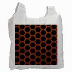 Hexagon2 Black Marble & Rusted Metal (r) Recycle Bag (one Side) by trendistuff
