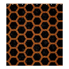 HEXAGON2 BLACK MARBLE & RUSTED METAL (R) Shower Curtain 66  x 72  (Large)