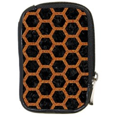 HEXAGON2 BLACK MARBLE & RUSTED METAL (R) Compact Camera Cases