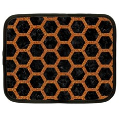 Hexagon2 Black Marble & Rusted Metal (r) Netbook Case (xl)  by trendistuff